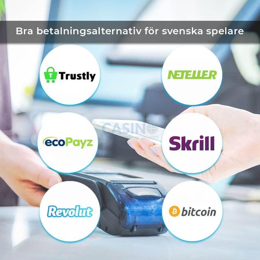 Loggor på betalningsmetoder på casino utan svensk licens